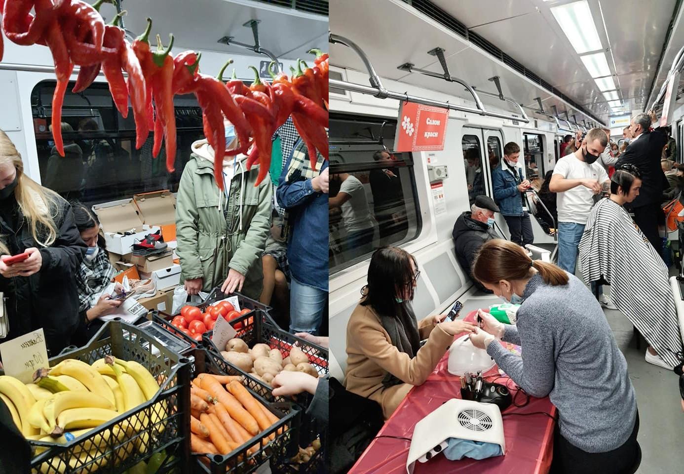 Вагон киевского метро превратили в ТЦ для борьбы с нелегальной торговлей